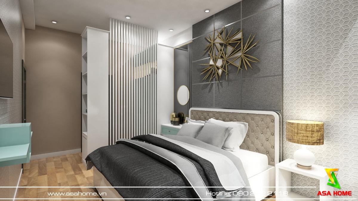 Phòng ngủ được thiết kế hài hòa bằng những vật decor sang trọng